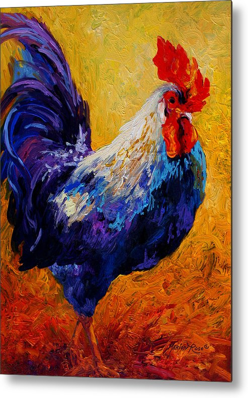 Rooster Metal Print featuring the painting Indy - Rooster by Marion Rose