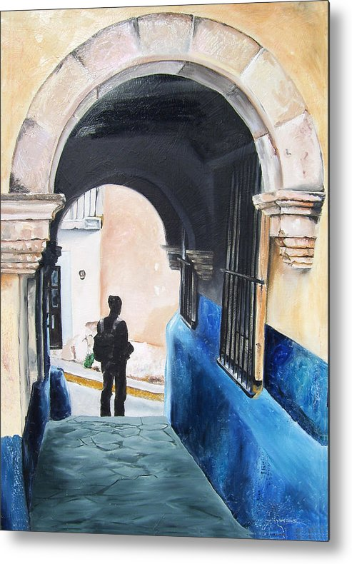 Archway Metal Print featuring the painting Ivan In The Street by Laura Pierre-Louis