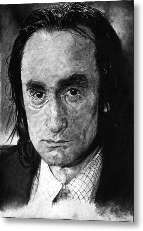 Portrait Man Men Charcoal Art Life Godfather Deer Hunter Dog Day Afternoon Gray Grey Tone John Actor Metal Print featuring the drawing John Cazale by Priscilla Vogelbacher