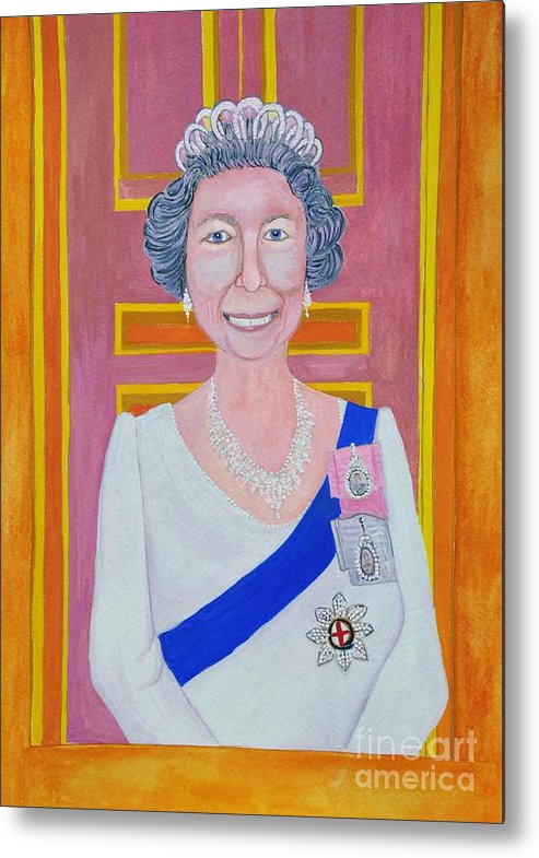 Queen Elizabeth 2 Metal Print featuring the painting Jolly Good Your Majesty by Reb Frost