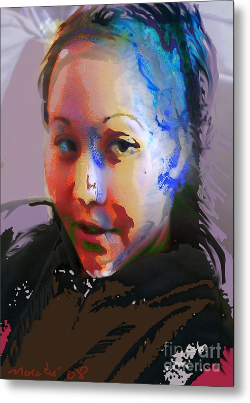 Portrait Metal Print featuring the mixed media Kime by Noredin Morgan