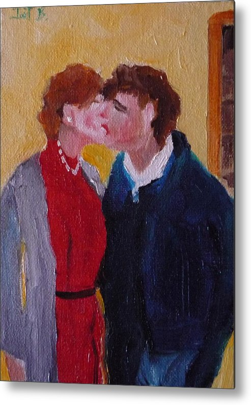 Figurative Metal Print featuring the painting Kiss Time by Irit Bourla