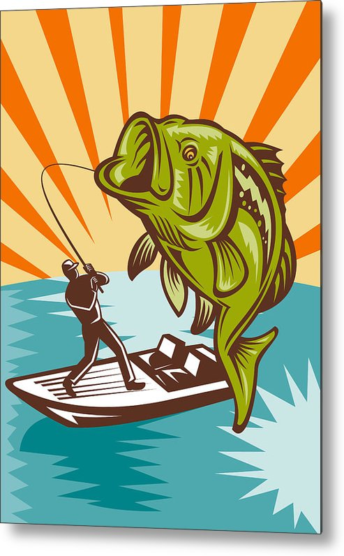 Largemouth Metal Print featuring the digital art Largemouth Bass Fish And Fly Fisherman by Aloysius Patrimonio