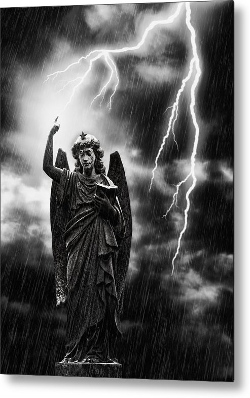 Religion Metal Print featuring the photograph Lightning Strikes The Angel Gabriel by Amanda Elwell