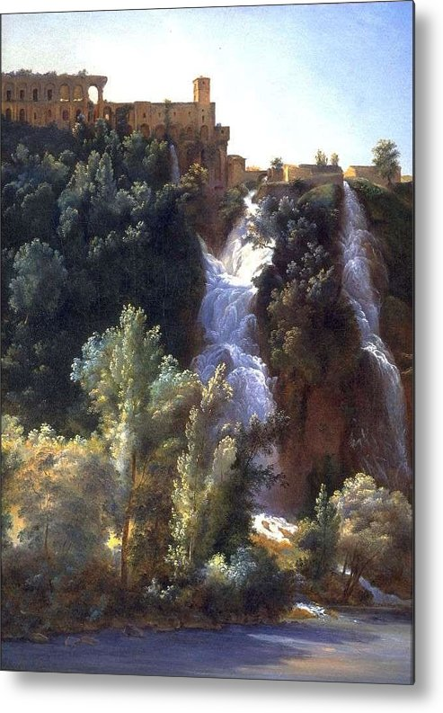 Nature Metal Print featuring the painting Louise-josephine Sarazin De Belmont View Of The Falls At Tivoli by Louise-Josephine Sarazin de Belmont