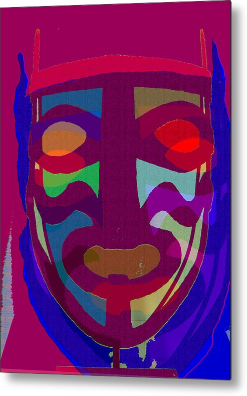 Mask Metal Print featuring the painting Mask8 by Noredin Morgan
