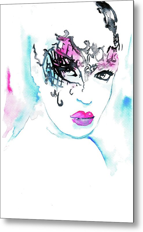 Masked Beauty Metal Print featuring the painting Masked Beauty by Rosalia S
