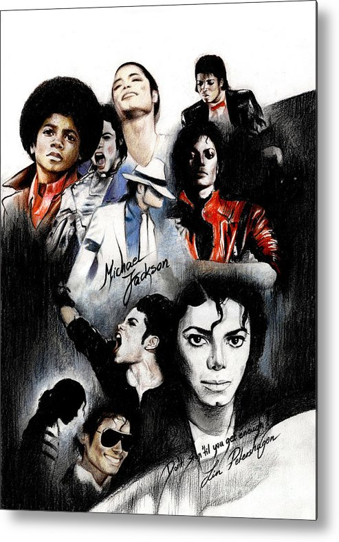 Lin Petershagen Metal Print featuring the drawing Michael Jackson - King Of Pop by Lin Petershagen