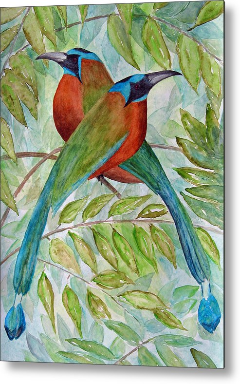 Motmots Metal Print featuring the painting Motmots by Patricia Beebe