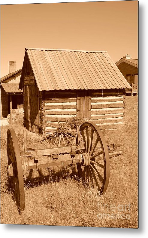 Sepia Metal Print featuring the photograph Murdock Carriage House - Circa 1800's by Dennis Hammer