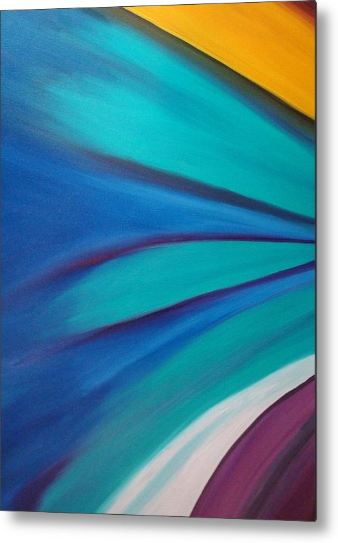 Abstract Car Speed Racers View-blue -yellow-nascar- Painting-oilpaintings-landscape-places Metal Print featuring the painting Nascar At 200mph by Stephen Ponting