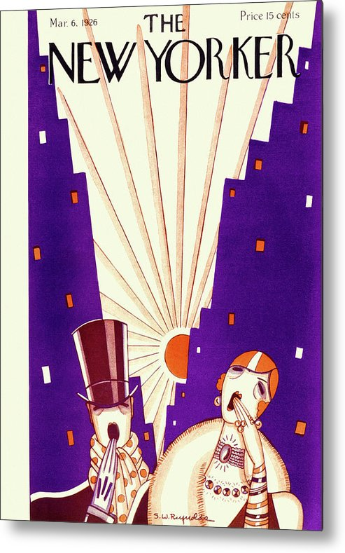 Illustration Metal Print featuring the drawing New Yorker March 6 1926 by Stanley W Reynolds