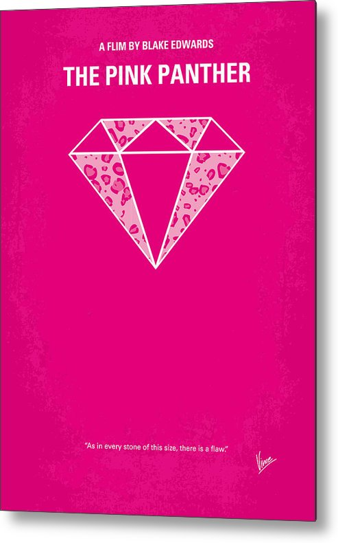 Pink Metal Print featuring the digital art No063 My Pink Panther Minimal Movie Poster by Chungkong Art