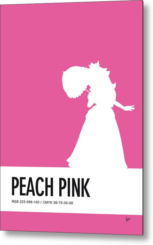 Mario Metal Print featuring the digital art No44 My Minimal Color Code Poster Peach by Chungkong Art