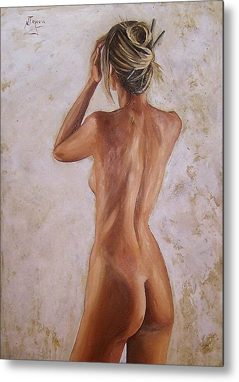 Nude Metal Print featuring the painting Nude by Natalia Tejera
