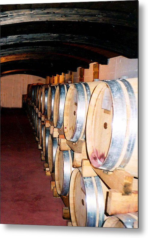 Wine Metal Print featuring the photograph Oak Red Wine Barrels by Donna Proctor