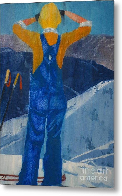 Ski Metal Print featuring the painting Oh Say Can You See by Elizabeth Carr