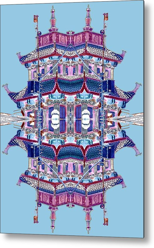 China Town Metal Print featuring the photograph Pagoda Tower Becomes Chinese Lantern 2 Chinatown Chicago by Marianne Dow