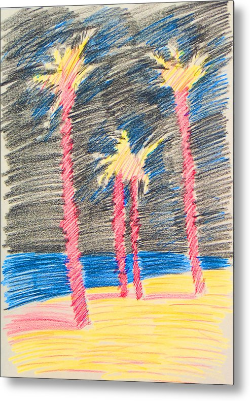 Beach Metal Print featuring the drawing Palms At The Night by Vitali Komarov
