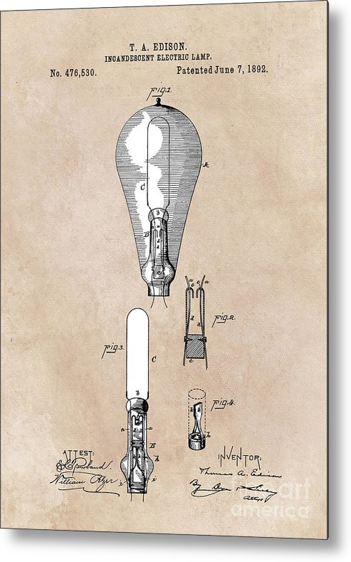 Incandescent Electric Lamp Metal Print featuring the digital art patent art Edison 1892 Incandescent electric lamp by Justyna JBJart