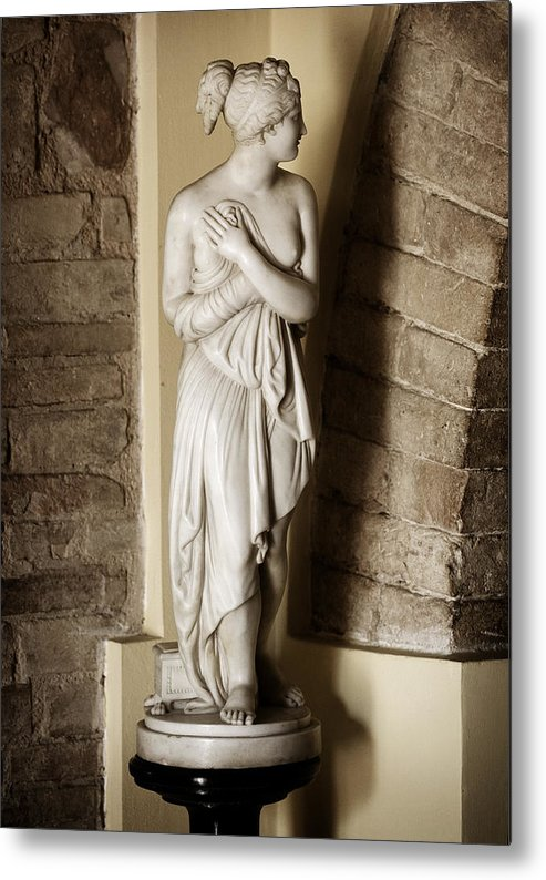 Statue Metal Print featuring the photograph Peering Woman by Marilyn Hunt