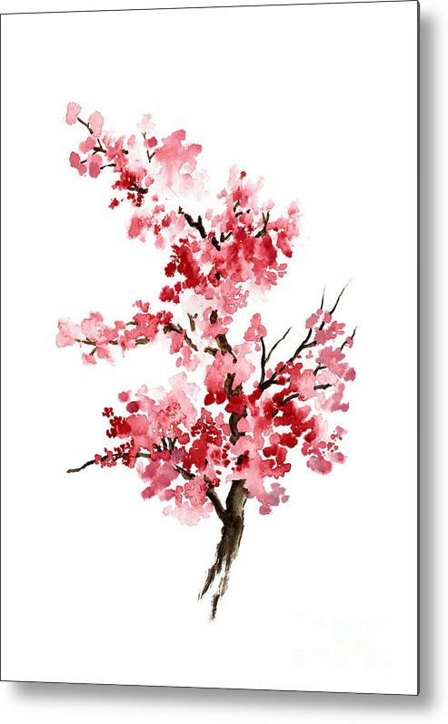 Painting Metal Print featuring the painting Cherry Blossom, Pink Gifts For Her, Sakura Giclee Fine Art Print, Flower Watercolor Painting by Joanna Szmerdt