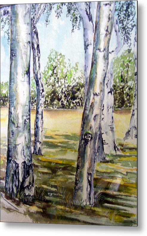 Poplar Metal Print featuring the painting Poplar Tree  by Paul Sandilands