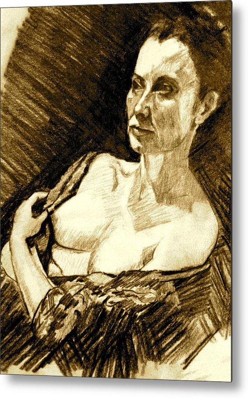 Portrait Metal Print featuring the painting Portrait Of Jacqueline by Dan Earle