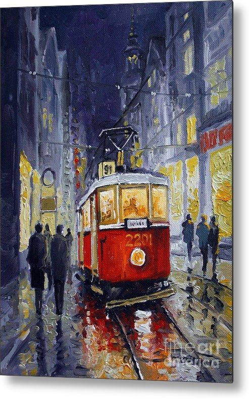 Oil Metal Print featuring the painting Prague Old Tram 06 by Yuriy Shevchuk