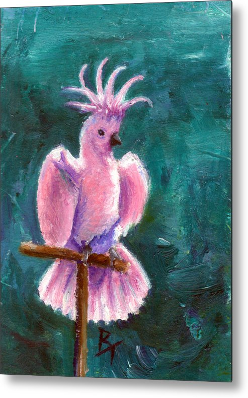 Bird Metal Print featuring the painting Pretty In Pink Aceo by Brenda Thour