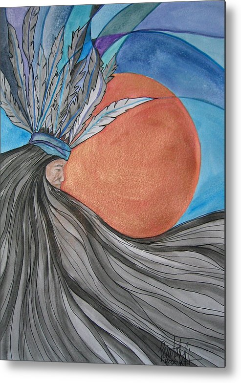 Original Art Metal Print featuring the mixed media Raven's Hair by K Hoover