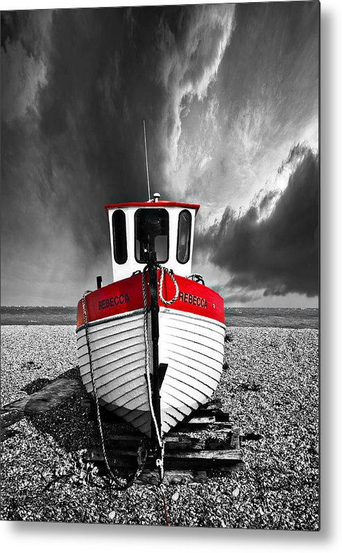 Boat Metal Print featuring the photograph Rebecca Wearing Just Red by Meirion Matthias