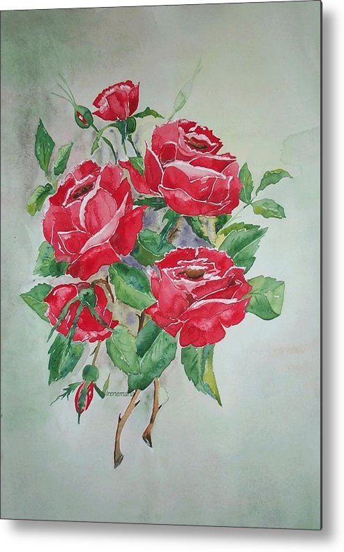 Roses Flowers Metal Print featuring the painting Red Morning Roses by Irenemaria