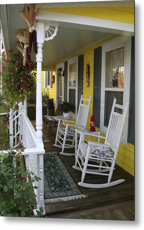 Rocking Chair Metal Print featuring the photograph Rockers On The Porch by Margie Wildblood