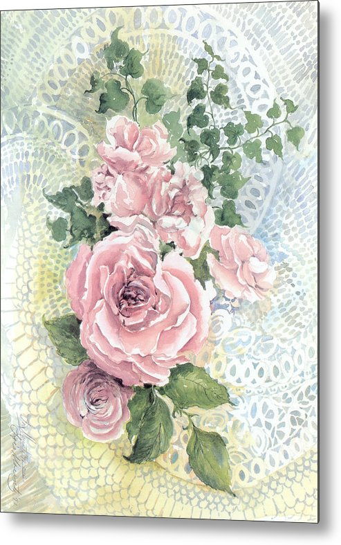 Roses;pink Roses;ivy;lace;floral; Metal Print featuring the painting Roses And Lace by Lois Mountz