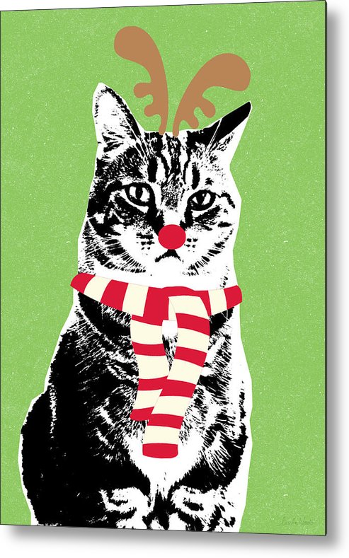 Reindeer Cat Metal Print featuring the mixed media Rudolph The Red Nosed Cat- Art By Linda Woods by Linda Woods
