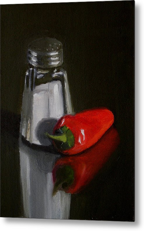 Still Life Metal Print featuring the painting Salt And Pepper by Becky Alden