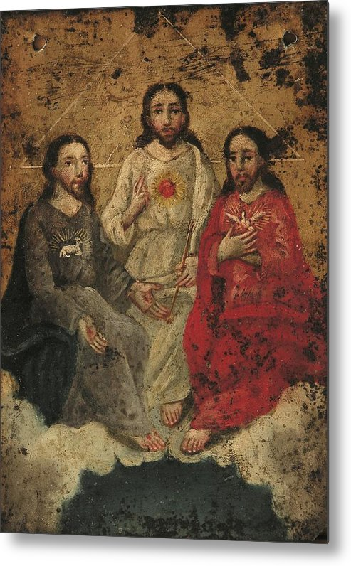 Religion Metal Print featuring the painting Santisima Trinidad by Unknown