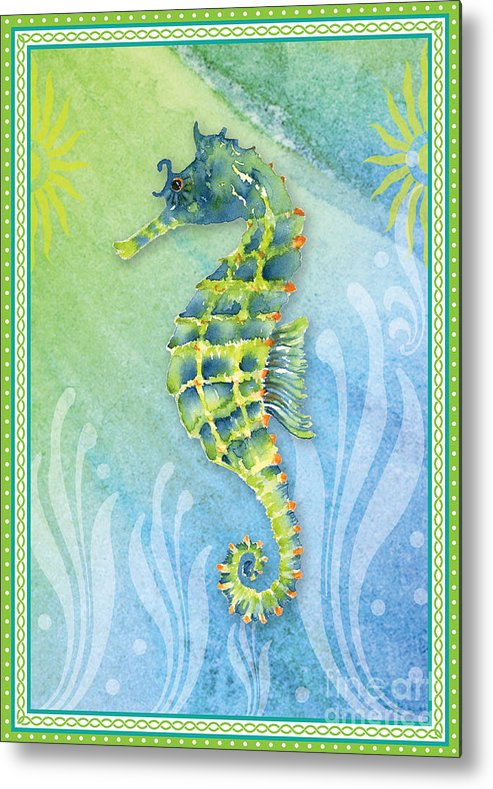 Watercolor Seahorse Metal Print featuring the painting Seahorse Blue Green by Amy Kirkpatrick