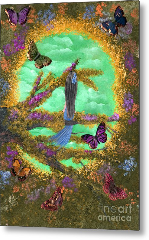 Whimsical Metal Print featuring the painting Secret Butterfly Garden by Alexandra Waites