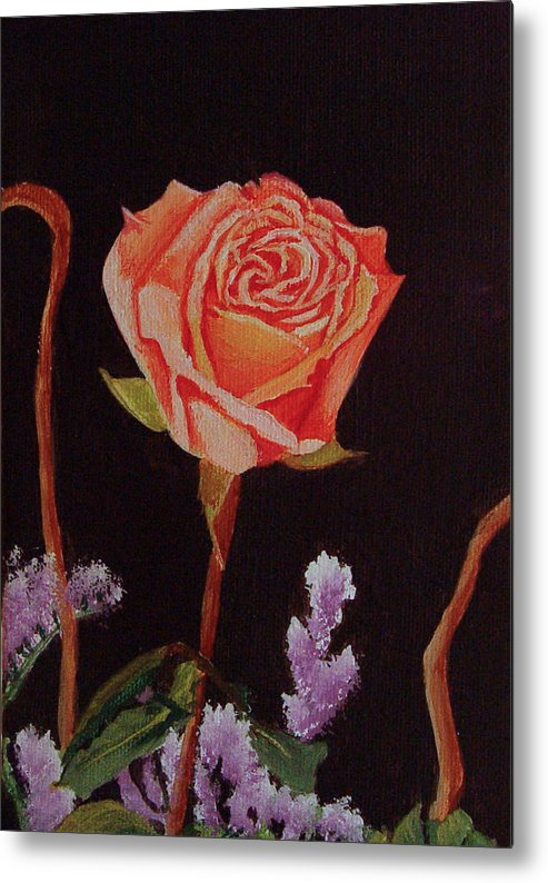 Rose Metal Print featuring the painting Single Rose by Quwatha Valentine