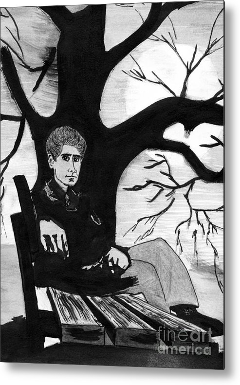 Bench Metal Print featuring the drawing Sitting On The Bench by Kostas Koutsoukanidis