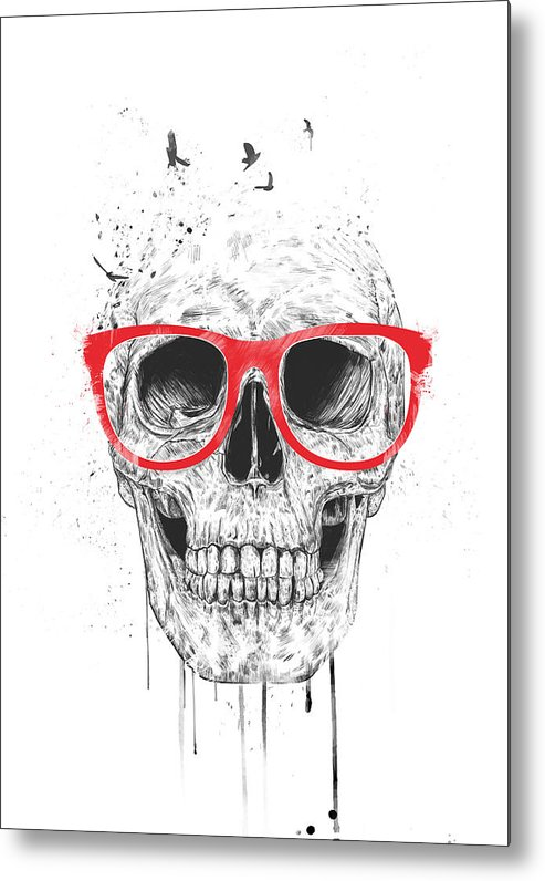 Skull Metal Print featuring the mixed media Skull With Red Glasses by Balazs Solti