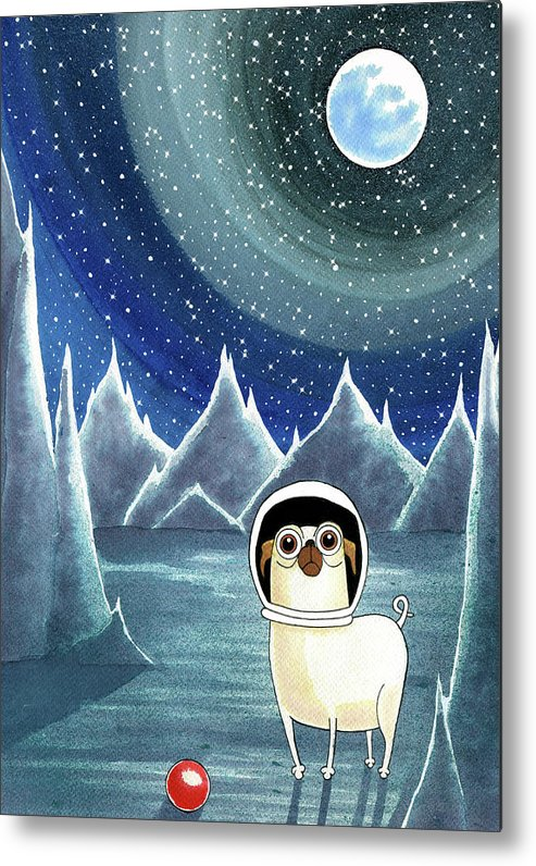 Dog Metal Print featuring the painting Space Pug by Andrew Hitchen