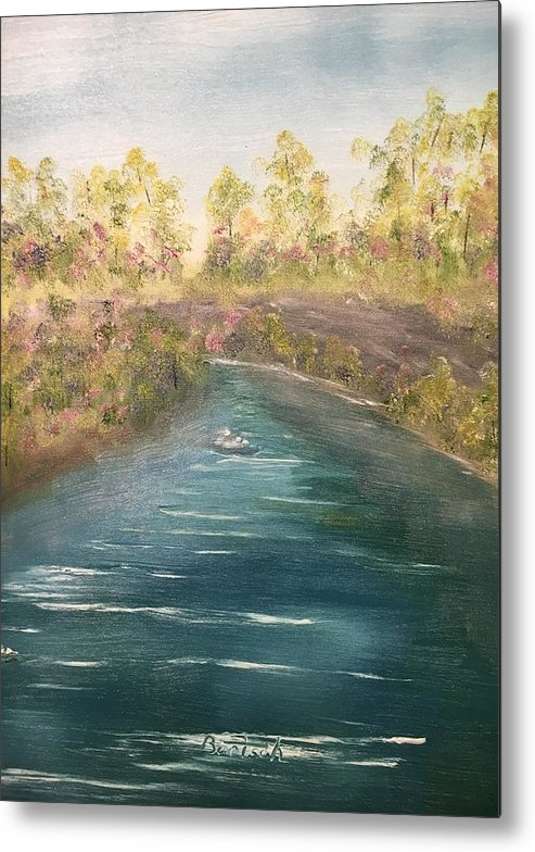 Stream Metal Print featuring the painting Spring Along Captina by David Bartsch