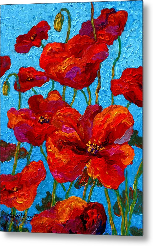 Poppies Metal Print featuring the painting Spring Poppies by Marion Rose