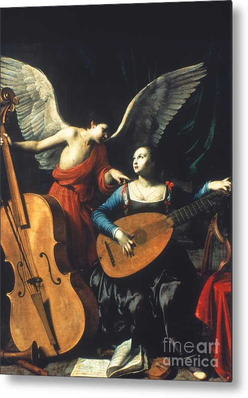 1600 Metal Print featuring the painting St. Cecilia And The Angel by Granger