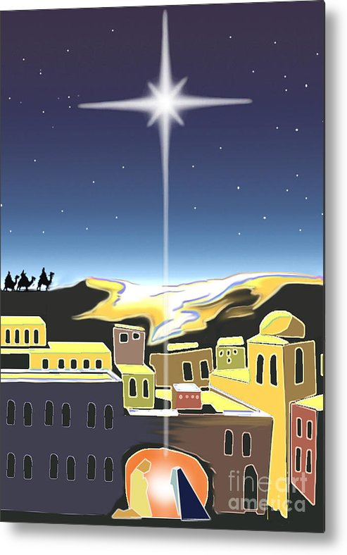 Christmas Metal Print featuring the digital art Star Of Bethlehem by Larry Cole
