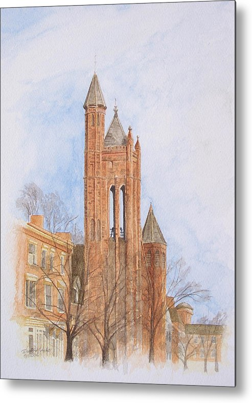 Gothic Metal Print featuring the painting State Street Church by Dominic White