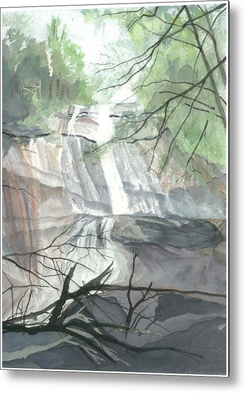 Stone Mtn Falls Metal Print featuring the painting Stone Mountain Falls - The Upper Cascade by Joel Deutsch